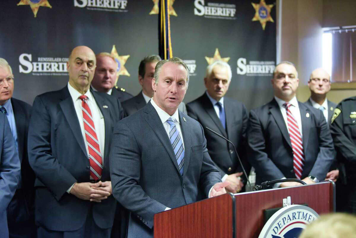 Matthew Albence, the acting U.S. Immigration and Customs Enforcement (ICE) director, speaks about the New York State Green Light Law and how it impacts public safety during a press conference at the Rensselaer County Sheriff's office on Thursday, Feb. 20, 20202, in Troy, N.Y. (Paul Buckowski/Times Union)