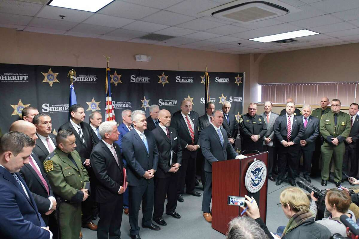 Matthew Albence, the acting U.S. Immigration and Customs Enforcement (ICE) director, surrounded by law enforcement officials and elected officials, speaks about the New York State Green Light Law and how it impacts public safety during a press conference at the Rensselaer County Sheriff's office on Thursday, Feb. 20, 20202, in Troy, N.Y. (Paul Buckowski/Times Union)