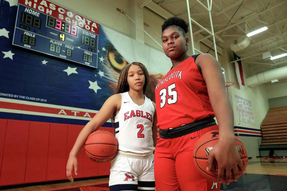 Atascocita players Aspen Edwards and Alyssa White at the school court Monday, Feb. 10, 2020 in Humble, TX. Photo: Michael Wyke / Contributor / © 2020 Houston Chronicle