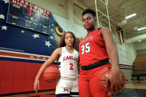 Atascocita players Aspen Edwards and Alyssa White at the school court Monday, Feb. 10, 2020 in Humble, TX.