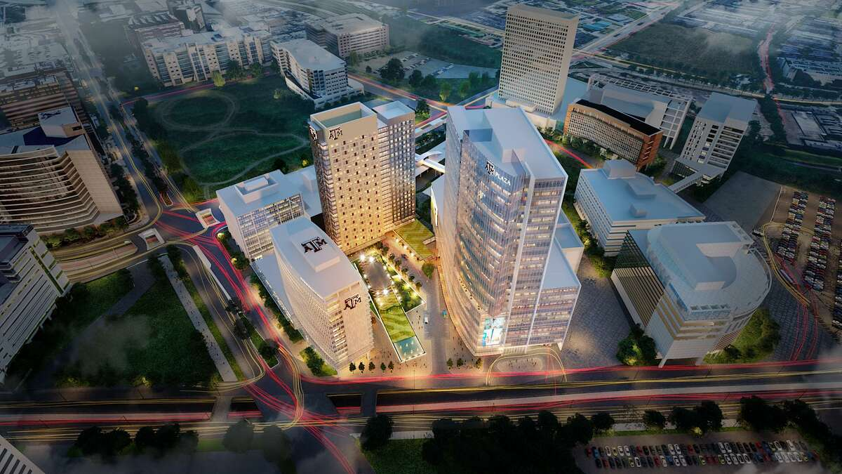 The Texas A&M University System is building a half-billion dollar complex in the Texas Medical Center area to house its Engineering Medicine program and provide housing for medical and nursing students in Houston. Shown here is a rendering of the final project.