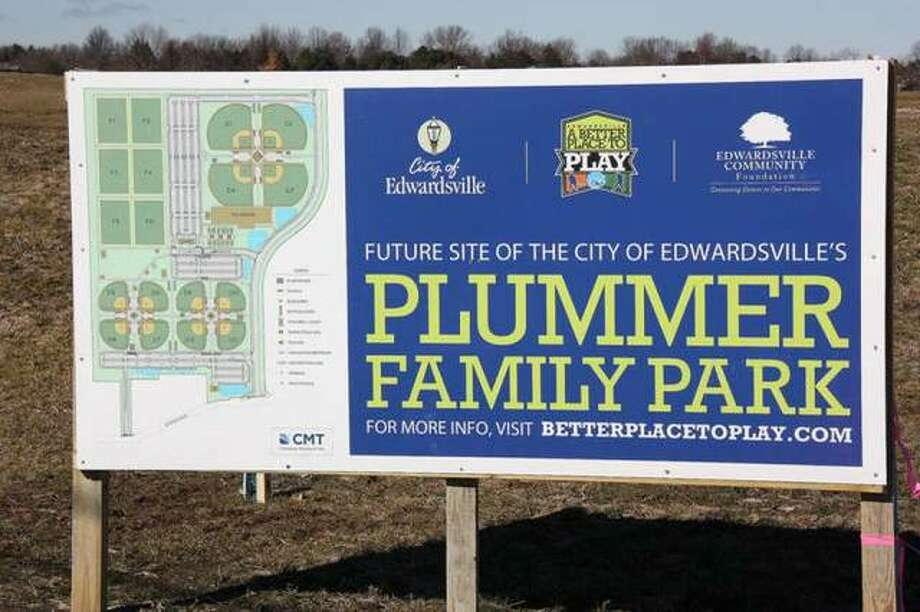 A sign sits in front of Plummer Family Park depicting the layout of the park that will open for soccer games on Feb. 29.