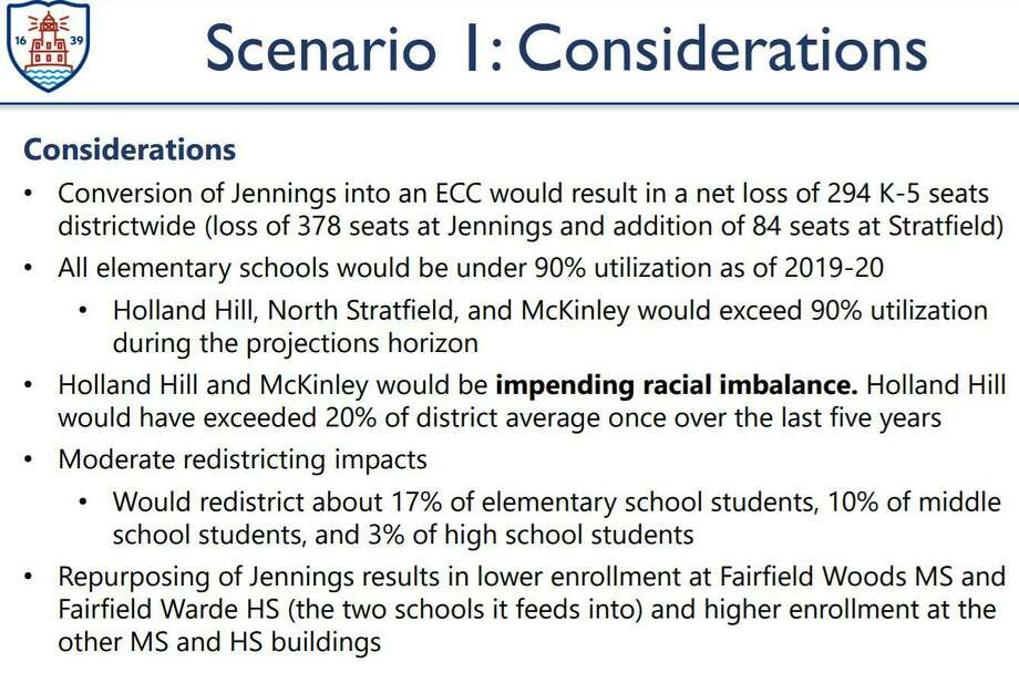 Considerations for the first scenario presented by Milone and MacBroom Inc., in which Jennings Elementary School is solely used as the early childhood education center. Photo: LaBella, Joshua /
