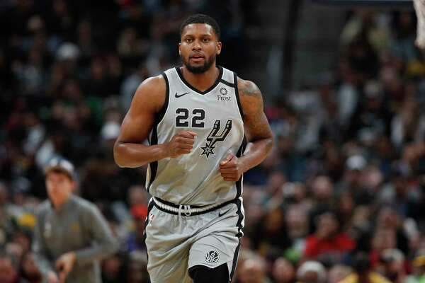 San Antonio Spurs forward Rudy Gay (22) in the second half of an NBA basketball game Monday, Feb.10, 2020, in Denver. The Nuggets won 127-120. (AP Photo/David Zalubowski)