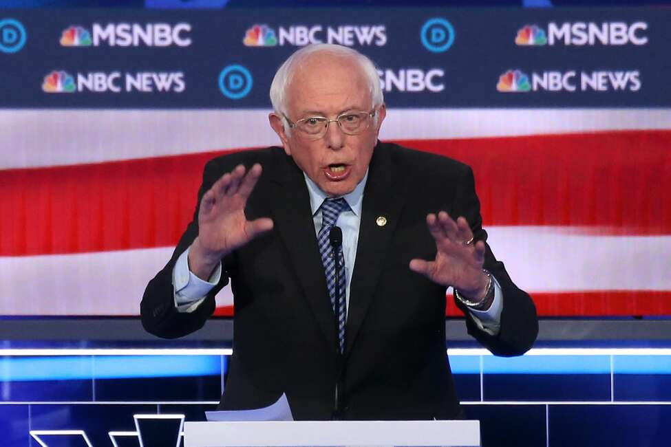 LAS VEGAS, NEVADA - FEBRUARY 19: Democratic presidential candidate Sen. Bernie Sanders (I-VT) speaks during the Democratic presidential primary debate at Paris Las Vegas on February 19, 2020 in Las Vegas, Nevada. Six candidates qualified for the third Democratic presidential primary debate of 2020, which comes just days before the Nevada caucuses on February 22. (Photo by Mario Tama/Getty Images)
