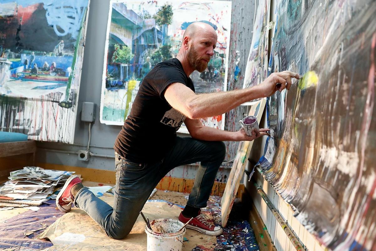 Artist Kevin Keaney at his studio in Berkeley, Calif., on Thursday, February 6, 2020.