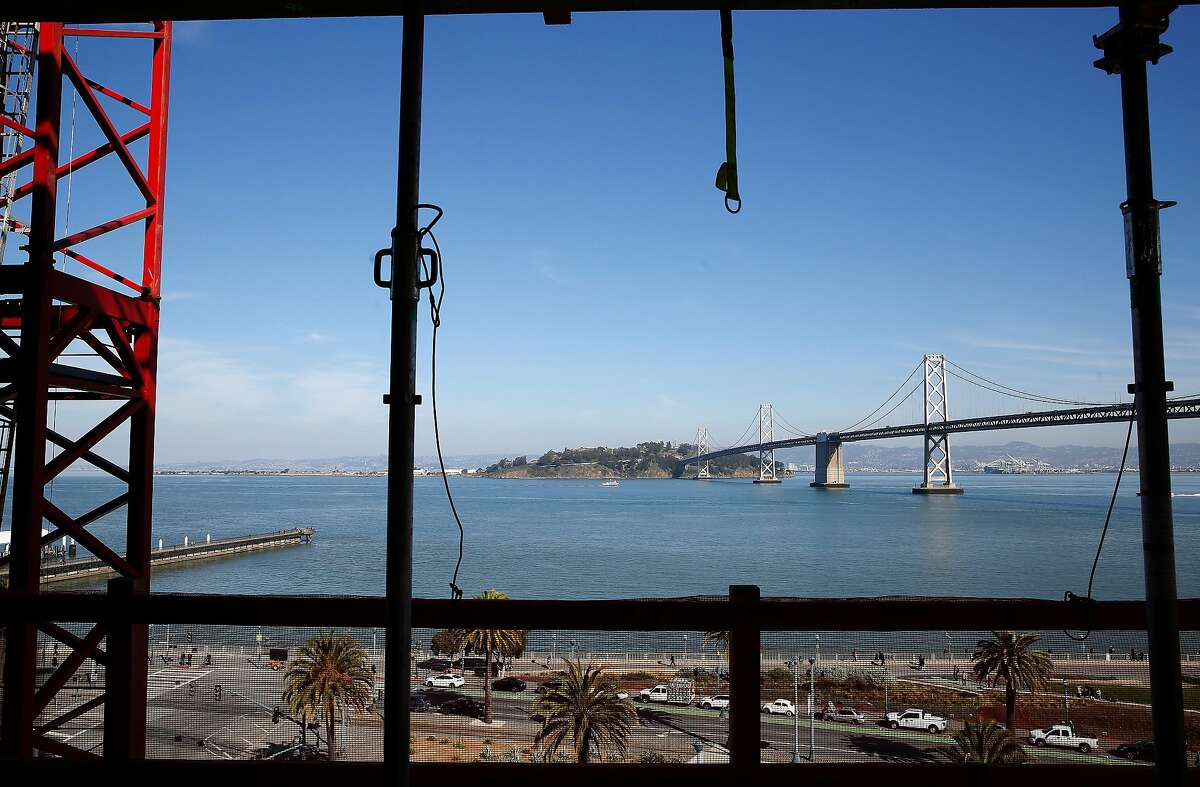 A sweeping view of San Francisco Bay from the eighth floor of the One Steuart Lane at 75 Howard Street condominium tower construction site.