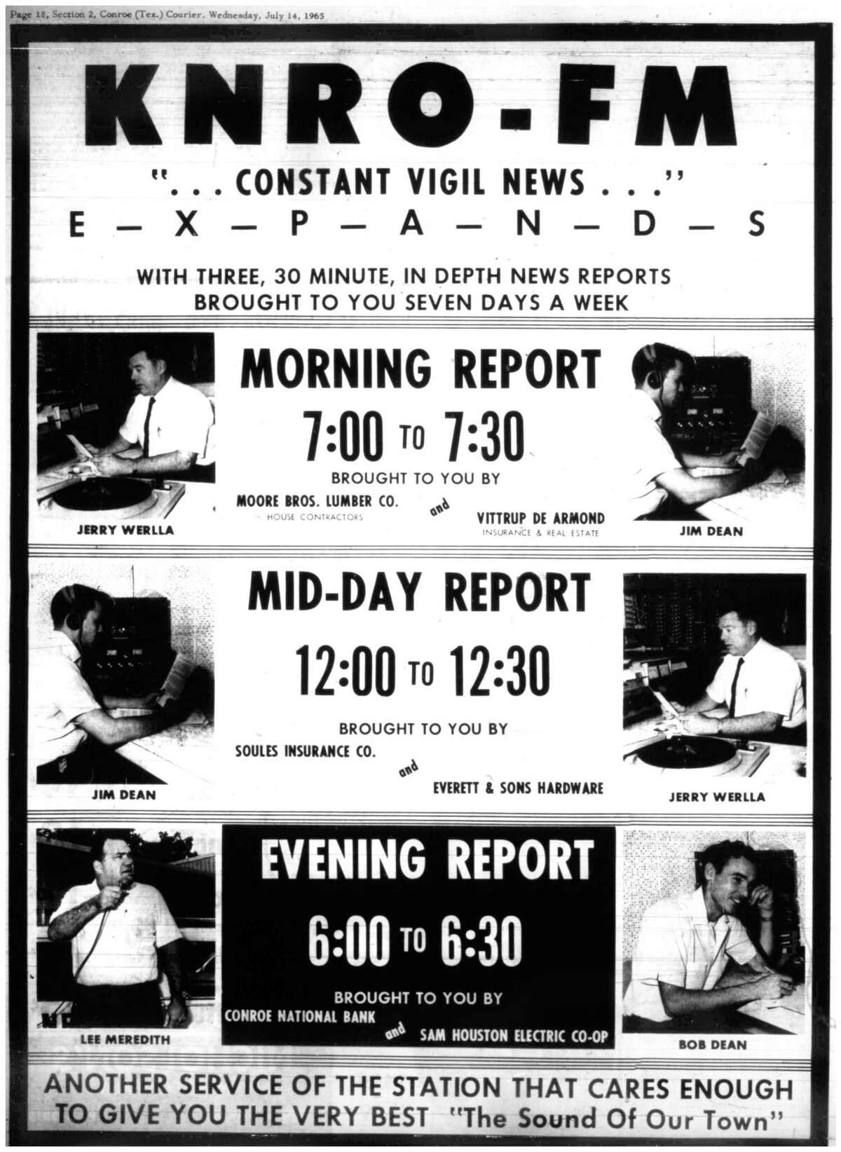 An advertisement for FM radio station KNRO in Conroe.