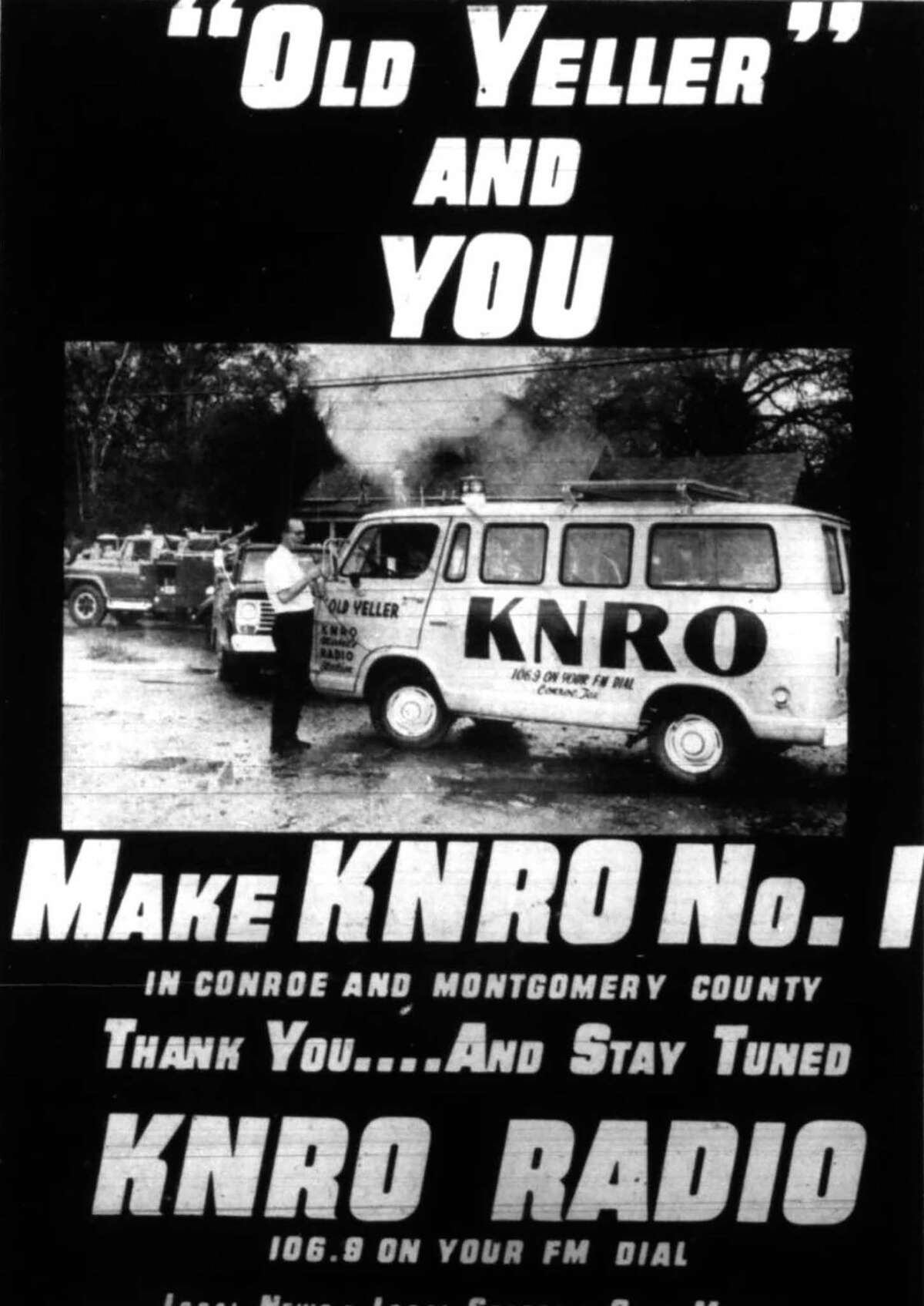 """KNRO reporter Ed Watson and his """"Old Yeller"""" van on the scene of a house fire in the 1960s in Conroe. The KNRO radio station was launched by the Owen family - who also owned The Courier - in the mid-1960s."""