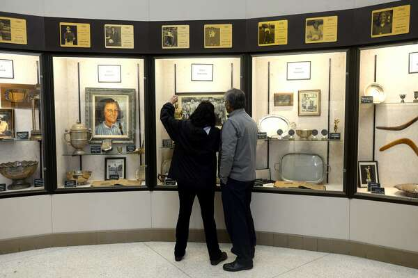 Tony Webber and Magali Rojas of Southwest Museum Services begin their evaluation and inventory of the exhibits and space at the Babe Zaharias Museum as plans for renovation begin Thursday, Feb, 20. Photo taken Thursday, February 20, 2020 Kim Brent/The Enterprise