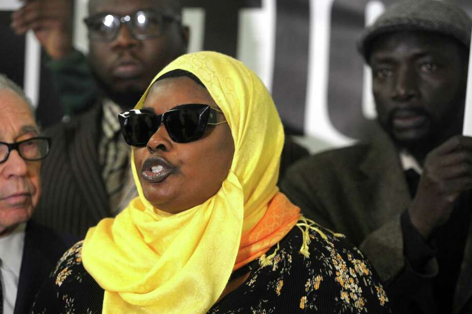 Omo Mohammed, mother of Mubarak Soulemane, speaks at a news conference in Bridgeport, Conn. Feb. 20, 2020. Soulemane, 19, was shot and killed by a state police trooper Jan. 13 in West Haven after he allegedly stole a car from an individual in Norwalk and fled from police at high at speeds that reached 90 mph along Interstate 95. His family announced Thursday they intend to file a $10 million lawsuit against the state, the state police, the city of West Haven and the West Haven Police Department. Photo: Ned Gerard / Hearst Connecticut Media / Connecticut Post