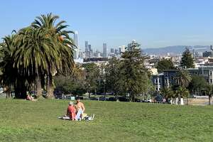 A sunny day at Dolores Park in San Francisco in February 2020: There's no rain in the forecast through the end of the month.