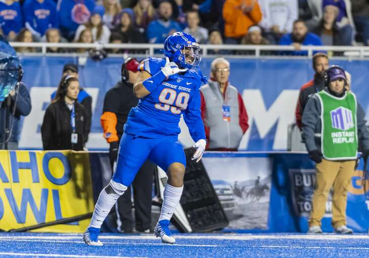 Boise State edge rusher Curtis Weaver is Aaron Wilson's current projection for the Texans' second-round pick at 57th overall in this year's draft.