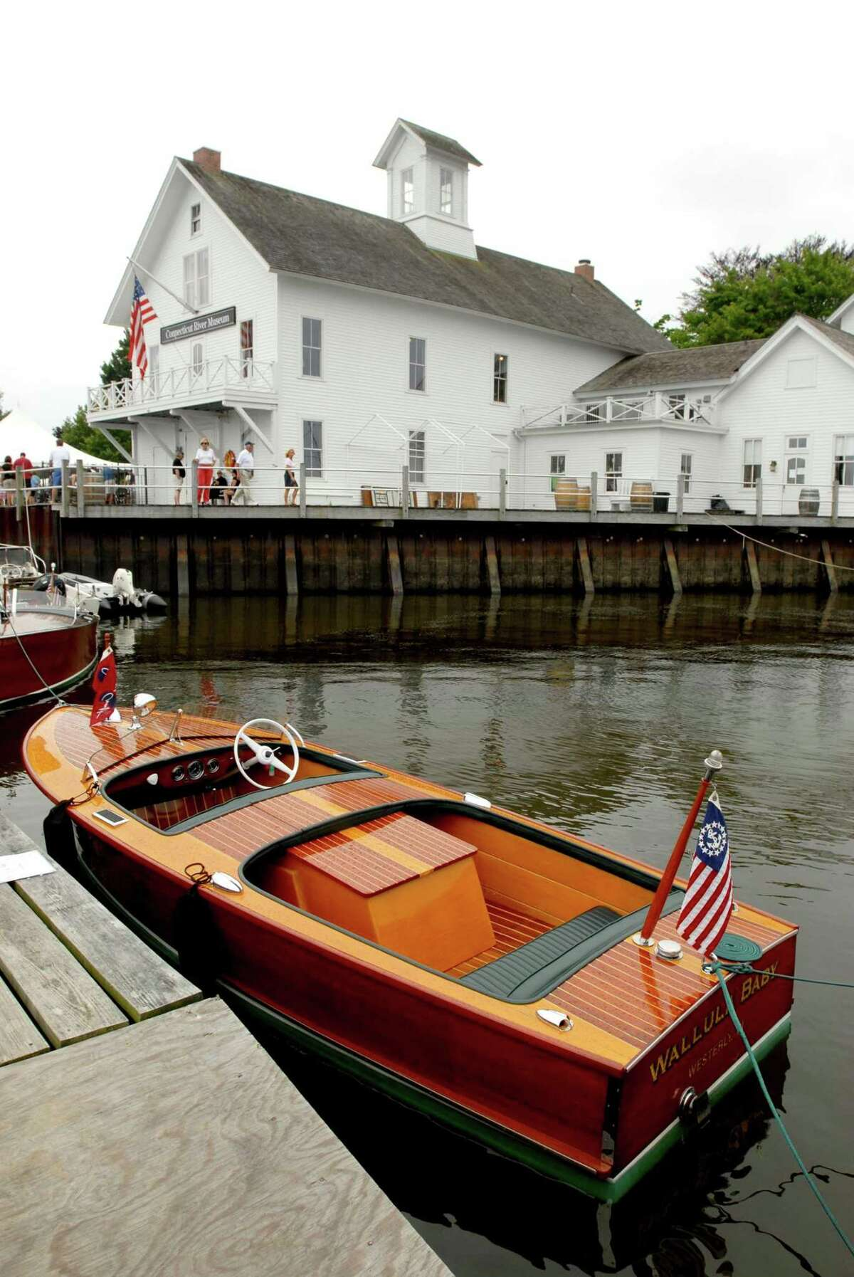 A 1947 Chris Craft Rocket speedboat is moored near the Connecticut River Museum during the Mahogany Memories boat show in Essex in this archive picture.