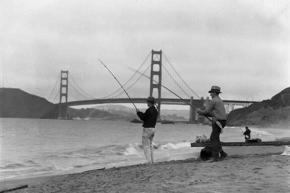 Three men fishing at Baker Beach with the Golden Gate Bridge in the background, No date, but probably the 1940s