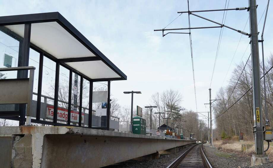 Bus stop shelters are expected to be installed on the platform at Talmadge Hill train station in New Canaan in the next 60 days. They will be similar to the ones on the platform now. Photo: Grace Duffield / Hearst Connecticut Media