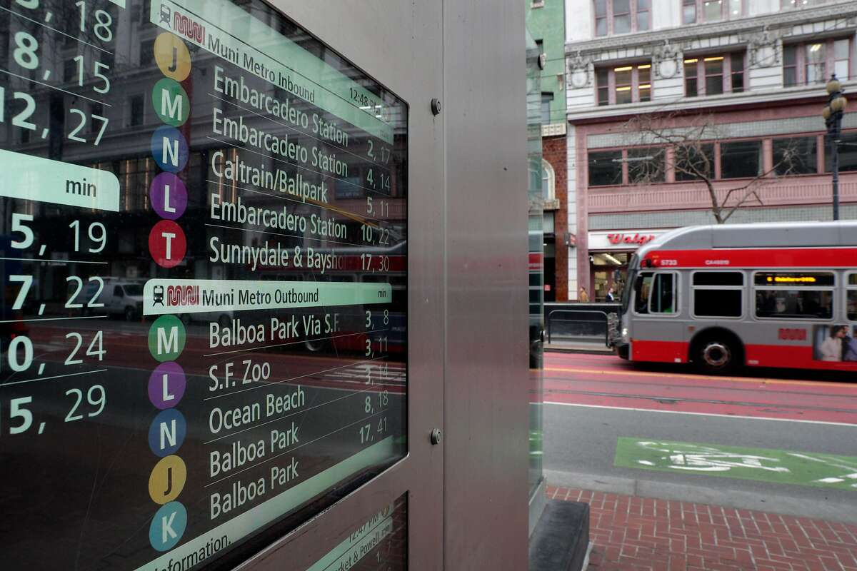 A SF MUNI bus passes by the Powell Street BART station where a digital transit schedule on the canopy like the ones proposed for all Market Street stands over the entrance in San Francisco, Calif., on Tuesday, January 21, 2020. BART's board is set to approve a contract for 22 canopies over station entrances on Market Street. The futuristic glass barriers protect BART's stairwells and escalators from inclement weather as well as San Francisco's steady downpour of trash and hypodermic needles.Funding for the project would be granted in conjunction with an effort to replace 41 escalators.
