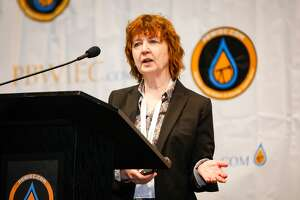 Dr. Bridget Scanlon, Senior Research Scientist, Texas Bureau of Economic Geology, Jackson School of Geo Sciences, University of Texas, speaks during the third annual Permian Basin Water In Energy Conference February 19, 2020, at Horseshoe Arena in Midland. MANDATORY CREDIT: The Oilfield Photographer, Inc.