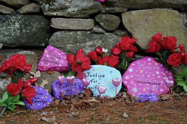 Valentines were recently placed on the informal memorial for Jennifer Dulos in Waveny Park in New Canaan.