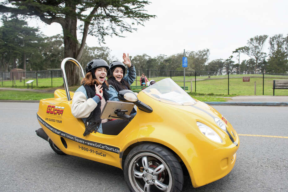 Alix Martichoux and Madeline Wells, two SFGATE staff writers, rent a GoCar for a day in San Francisco. Photo: Blair Heagerty / SFGate