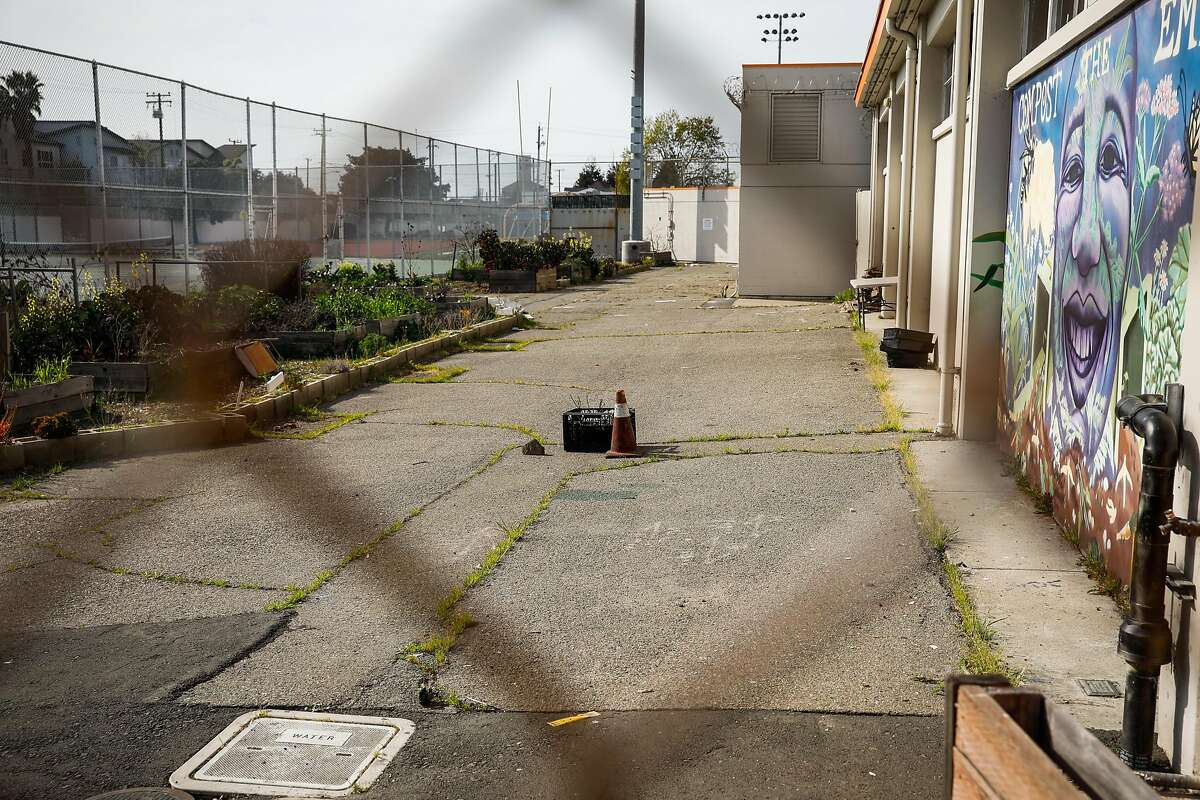 The site where a cancer-causing chemical was found at McClymond's High School in West Oakland on Thursday, Feb. 20, 2020. Authorities recently found a cancer-causing chemical in groundwater and the school is expected to be closed at least through Friday.