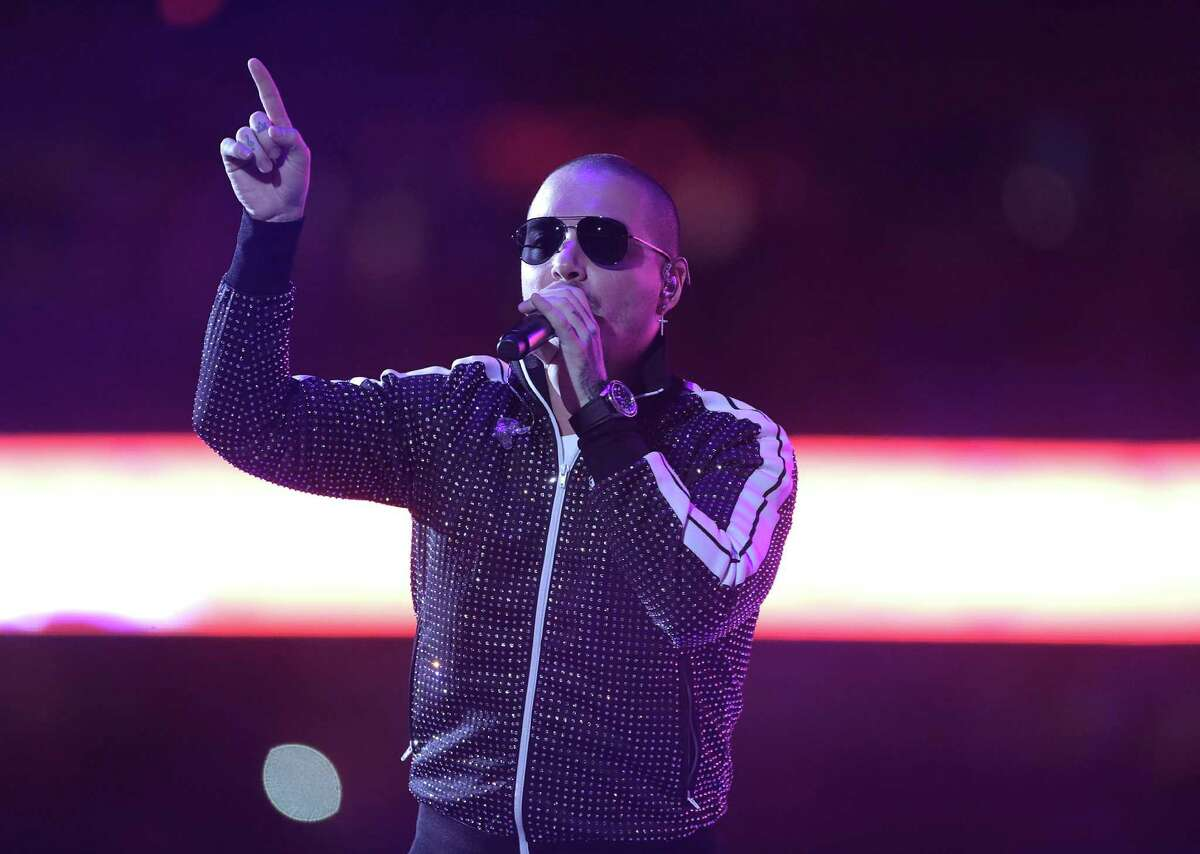 J Balvin performs during the 2018 Houston Livestock Show and Rodeo at NRG Stadium on Tuesday, March 13, 2018, in Houston. ( Elizabeth Conley / Houston Chronicle )