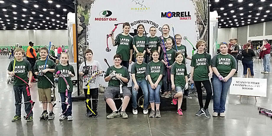 Members of the Laker archery team are shown in this 2019 file photo. The 2020 Laker junior high archery team ranks No. 2 in state, and the elementary and high school teams are also enjoying success this year. Photo: Tribune File Photo