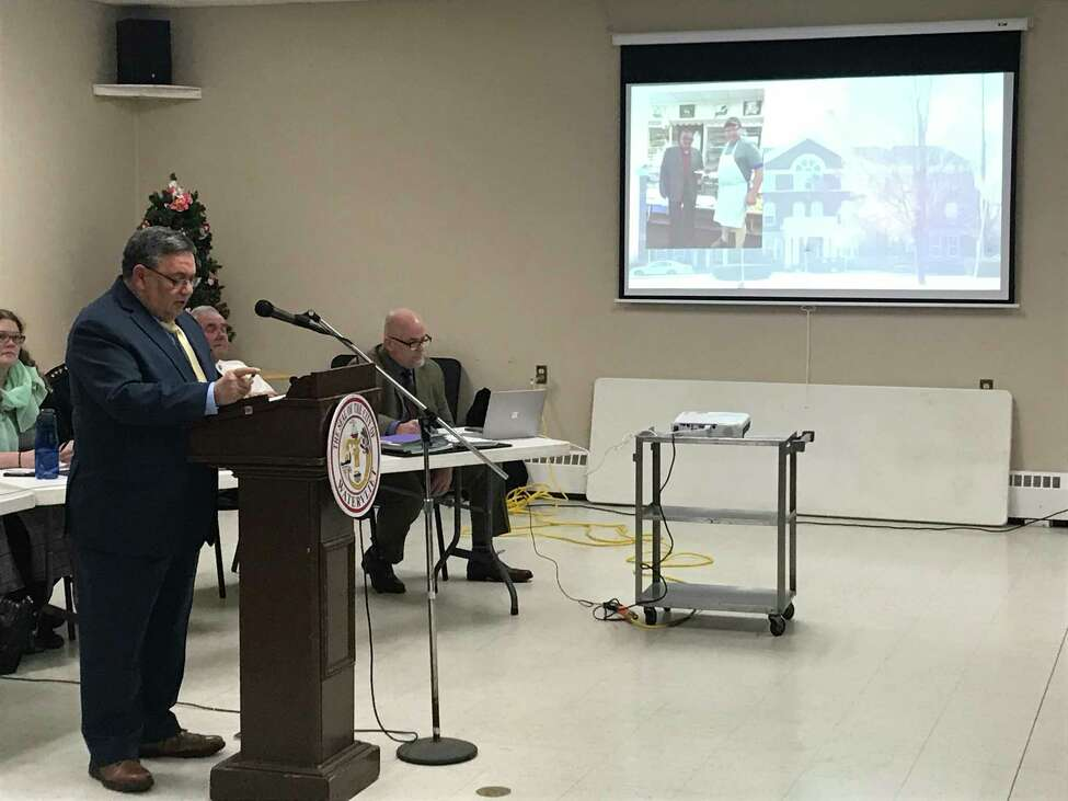 A slide show illustrates Watervliet Mayor Charles V. Patricelli's first state-of-the-city address Thursday Feb. 20, 2020 at the city senior center outlining plans for the upcoming year.