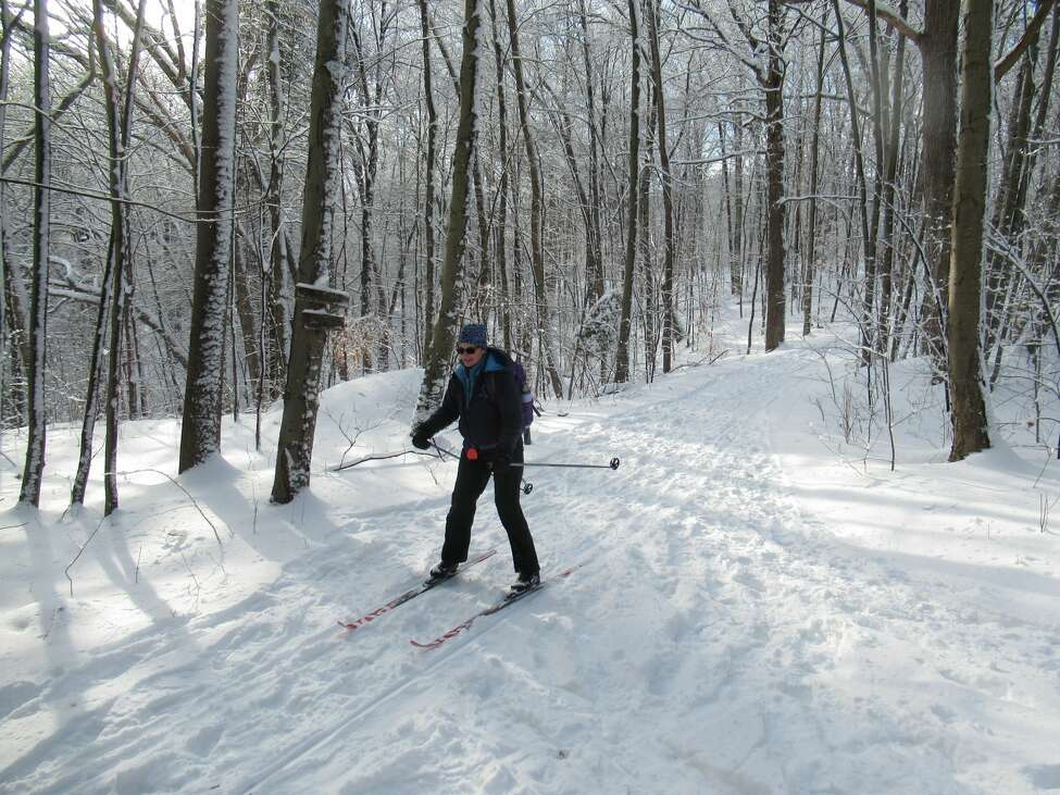 Outdoors writer Gillian Scott skis down a hill at Moreau Lake State Park in Saratoga County. (Herb Terns / Times Union)