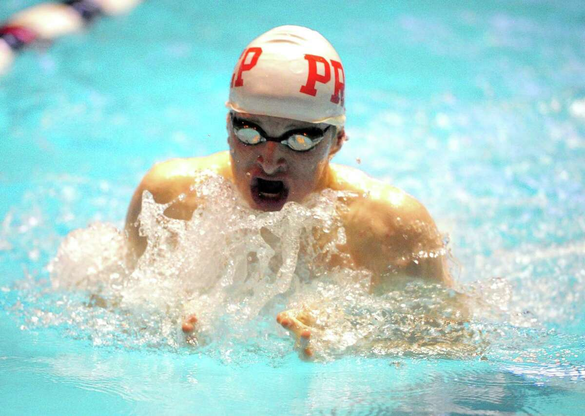 Fairfield Prep's Richard Nolan competes in the 100 breaststroke during swim action in New Haven, Conn., on Thursday Mar. 14, 2019.