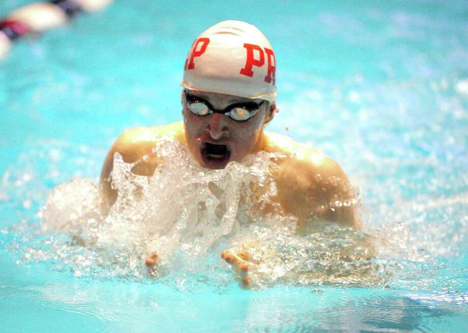 Fairfield Prep's Richard Nolan competes in the 100 breaststroke during swim action in New Haven, Conn., on Thursday Mar. 14, 2019. Photo: Christian Abraham / Hearst Connecticut Media / Connecticut Post