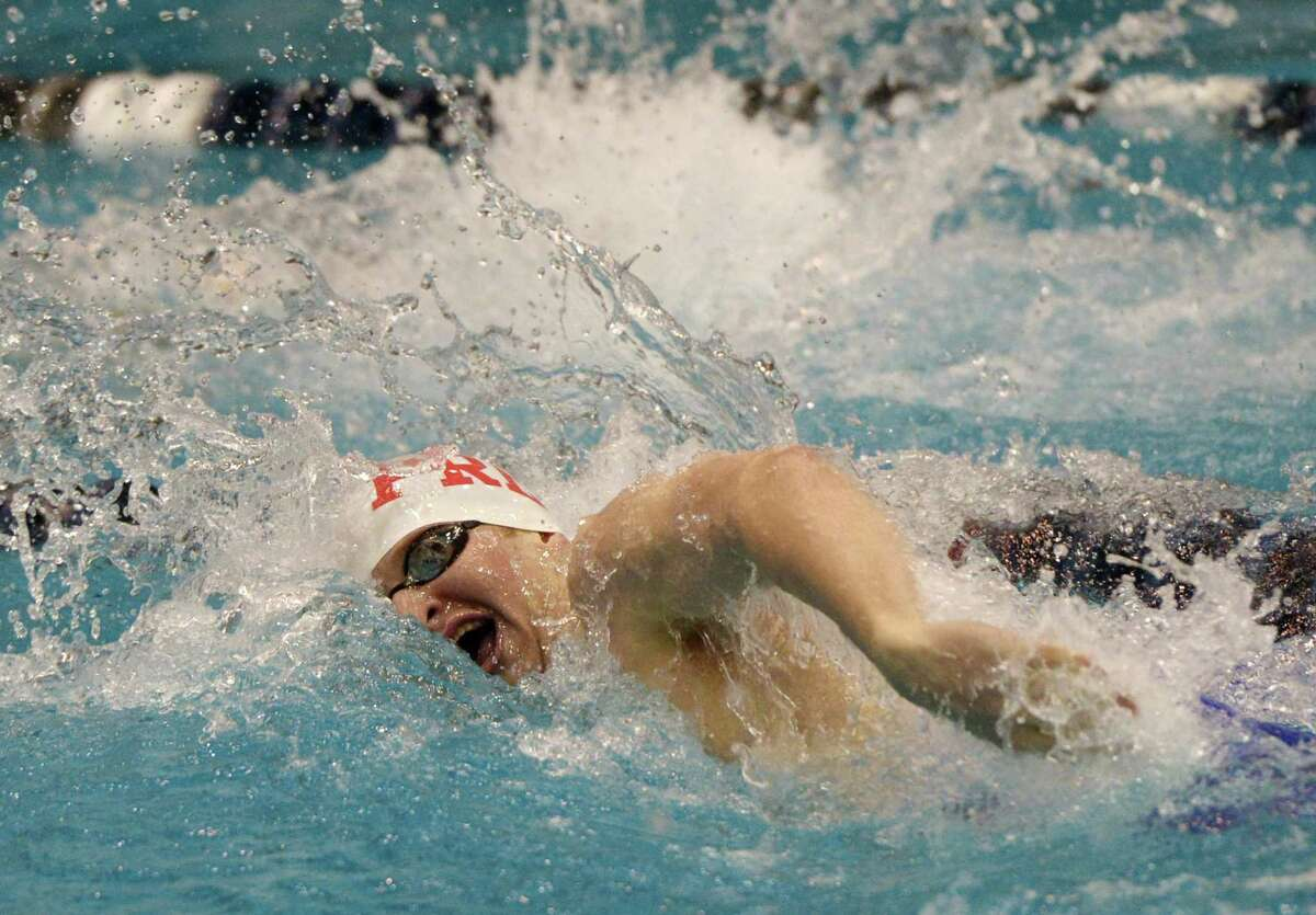 Fairfield Prep's Richard Nolan swims to a second place finish in the 200 yard IM final during the CIAC Boys Class LL Swim Championships at Southern Connecticut State University's Hutchinson Natatorium in New Haven, Conn. Monday, March 11, 2019. Greenwich won the event overall with a score of 911, with Ridgefield taking second and Fairfield Prep third.