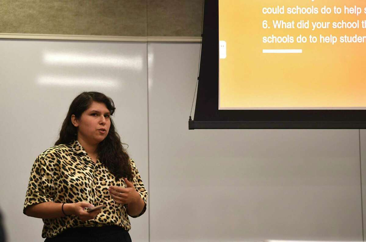 Irene, 26, who said she grew up homeless and attended 11 schools before graduating from Jefferson High School, now has a degree in social work. She spoke at a discussion on student homelessness Thursday at the Region 20 Education Service Center.