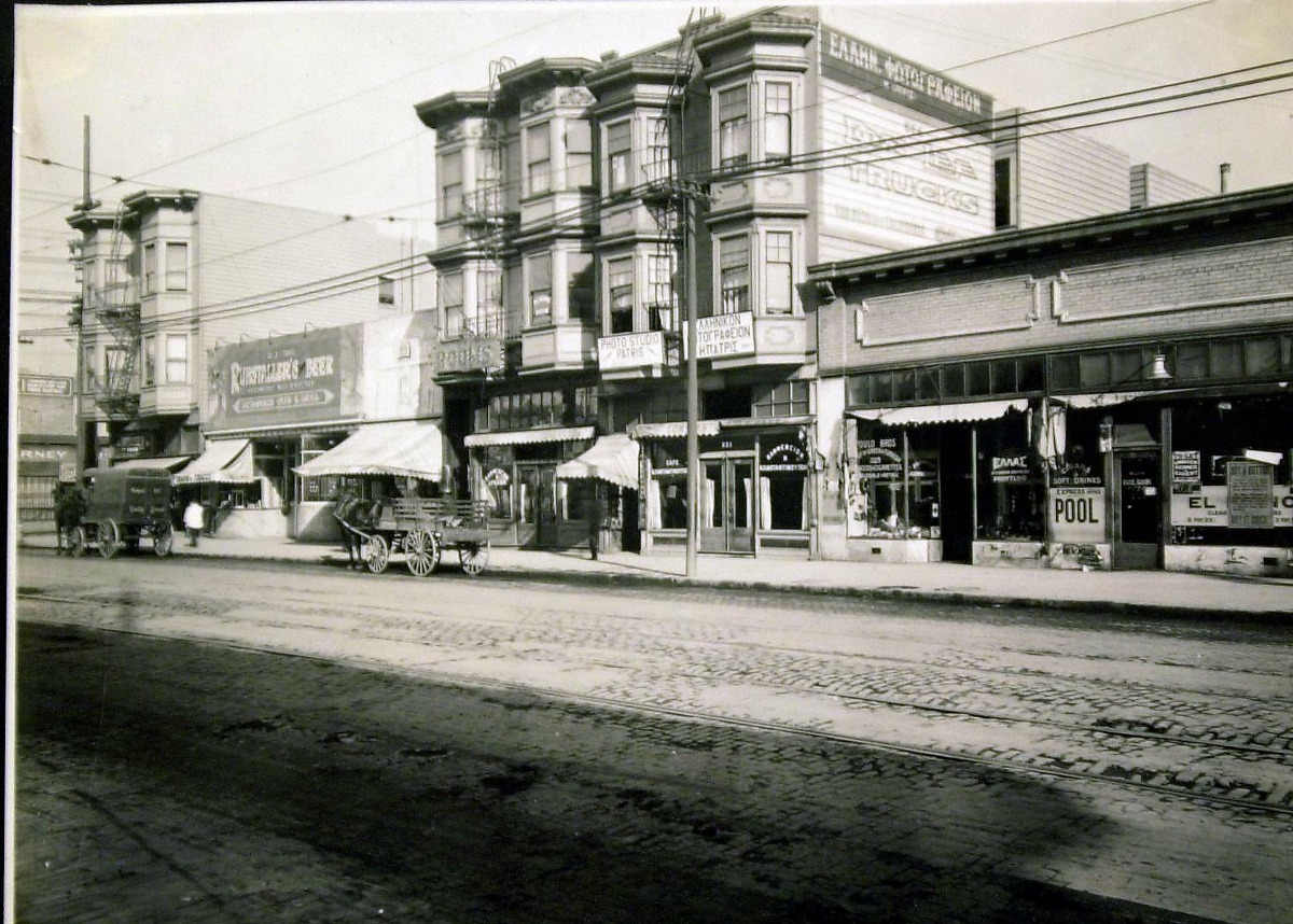 Photo of Greek Town at 3rd Street at Folsom street, 1919.