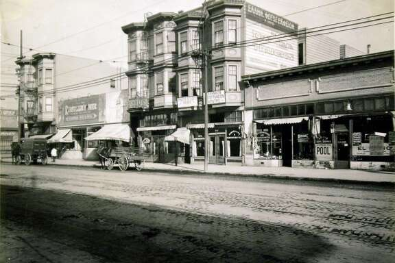 Historic photos from the 1909 to 1940's found at the Sebastopol home of William Randolph Hearst's personal librarian. They were found by the man's son and he donated them to the San Francisco public library. Photo of Greek Town at 3rd Street at Folsom street, 1919.