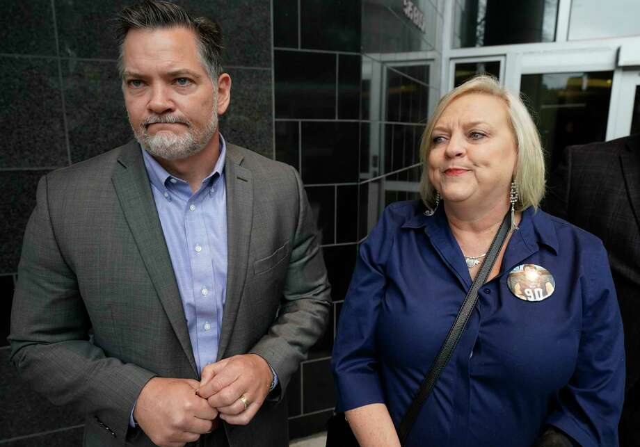 """Mical Padgett and his wife, Wyndi Padgett, speak to the media about their late son Blain Padgett outside the Bob Casey United States Courthouse, 515 Rusk St., Thursday, Feb. 20, 2020, in Houston. Stuart """"Mooch"""" Mouchantaf, a former Rice University football player, charged in the 2018 opioid-induced death of Blain Padgett, pleaded guilty to conspiracy to possess with the intent to distribute causing death and possession with the intent to distribute causing death. Photo: Melissa Phillip, Staff Photographer / © 2020 Houston Chronicle"""
