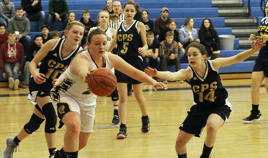 The North Huron girls basketball team picked up another win on Thursday night, this time against Carsonville-Port Sanilac. Photo: Mark Birdsall/Huron Daily Tribune