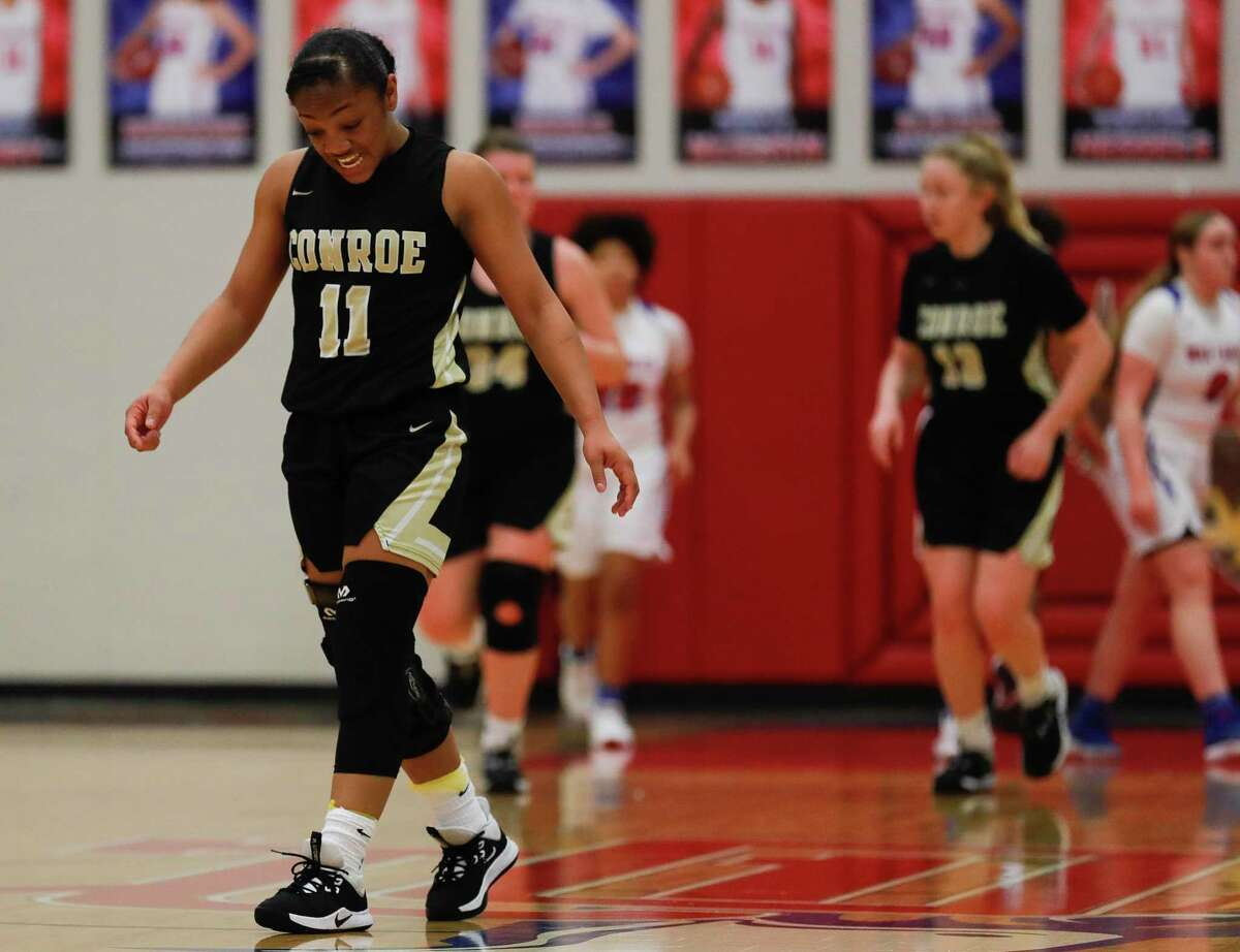 In this file photo, Conroe point guard Kennedy Powell (11) reacts after a turnover during the second quarter of a District 15-6A high school basketball game at Oak Ridge High School, Tuesday, Feb. 11, 2020, in Oak Ridge.