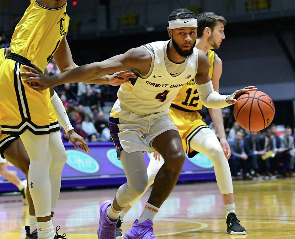 University at Albany's Ahmad Clark drives to the basket during a game against Maryland-Baltimore County at SEFCU Arena on Thursday, Feb. 20, 2020 in Albany, N.Y. (Lori Van Buren/Times Union)