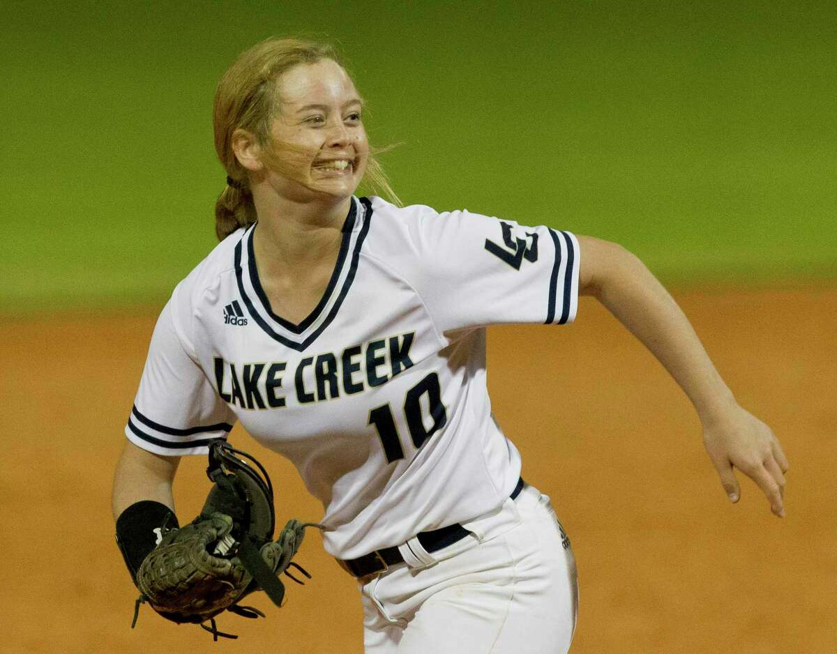 FILE - Lake Creek relief pitcher Brenna Kelly (10) reacts after holding on to a 5-4 victory over Willis during a District 20-5A high school softball game at Lake Creek High School, Thursday, March 14, 2019, in Montgomery.