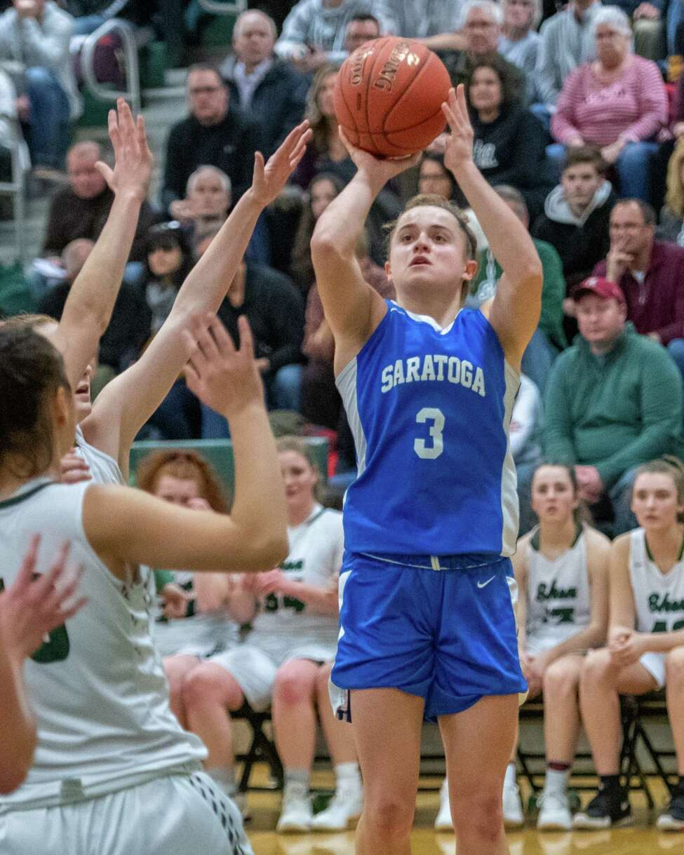 Saratoga senior Dolly Cairns takes a jumper against Shenendehowa during a Suburban Council game at Shenendehowa High School on Tuesday, Feb. 11, 2019 (Jim Franco/Special to the Times Union.)