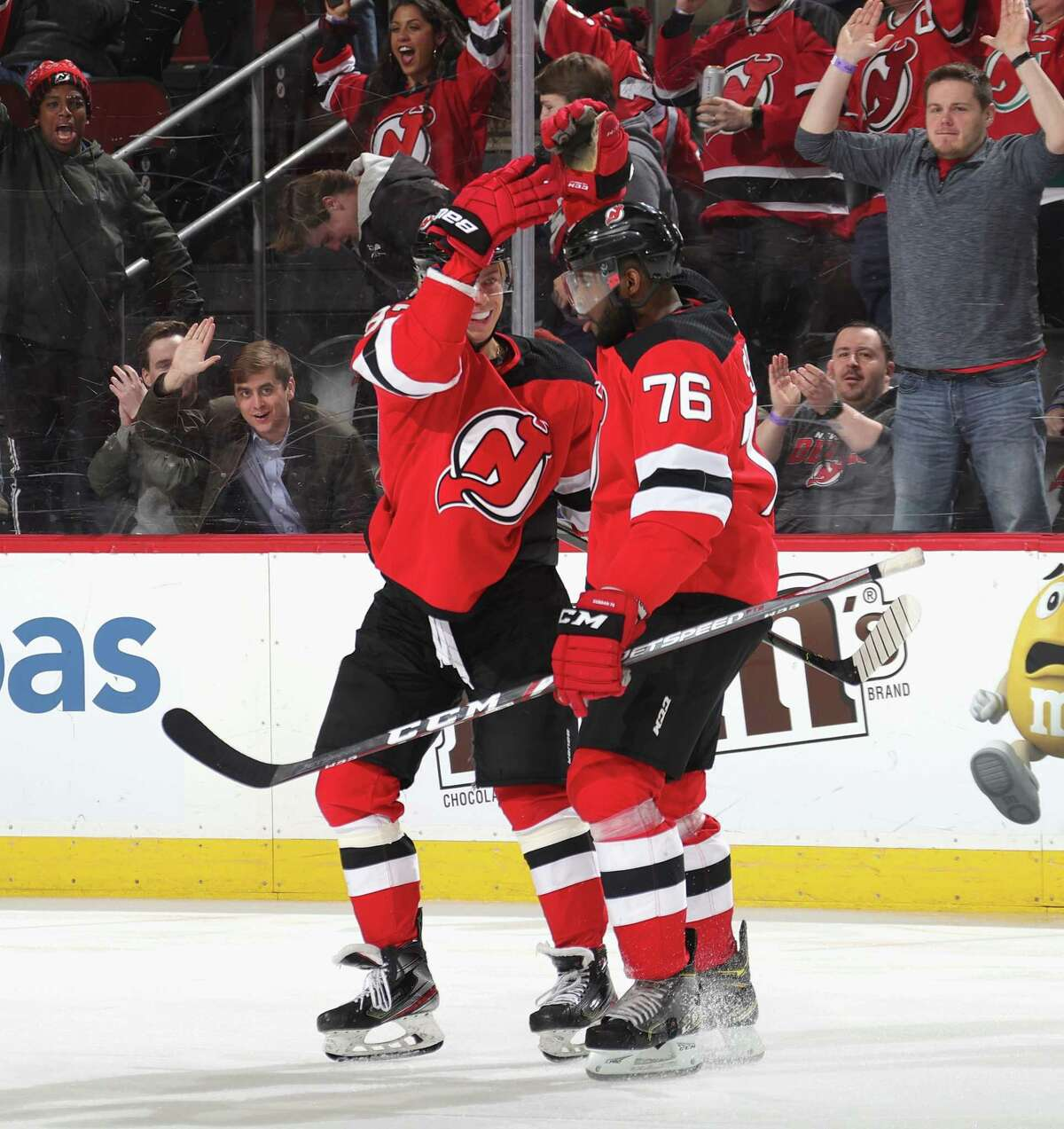 NEWARK, NEW JERSEY - FEBRUARY 20: P.K. Subban #76 of the New Jersey Devils (R) scores the game winning goal on the power-play at 2:56 of the third period against the San Jose Sharks at the Prudential Center on February 20, 2020 in Newark, New Jersey. The Devils defeated the Sharks 2-1. (Photo by Bruce Bennett/Getty Images)