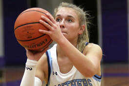 Jersey's Clare Breden scored 14 points to lead her team in Thursday's loss to Highland in the title game of the Jersey Class 3A Regional at Havens Gym in Jerseyville.
