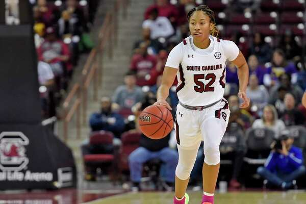 South Carolina's Tyasha Harris brings the ball upcourt during the first half of an NCAA college basketball game against LSU, Thursday, Feb. 20, 2020, in Columbia, S.C. (AP Photo/Richard Shiro)
