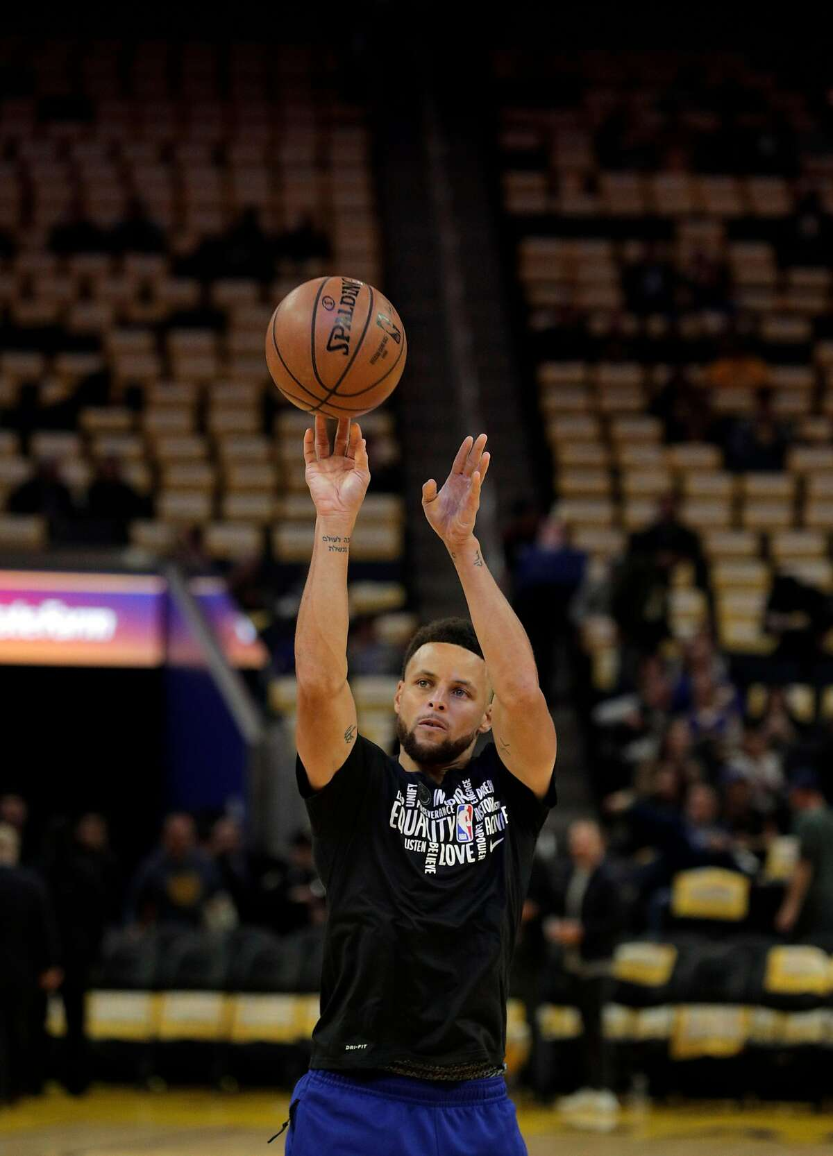 Stephen Curry (30) shoots as he works out before the Golden State Warriors played the Houston Rockets at Chase Center in San Francisco, Calif., on Thursday, February 20, 2020.