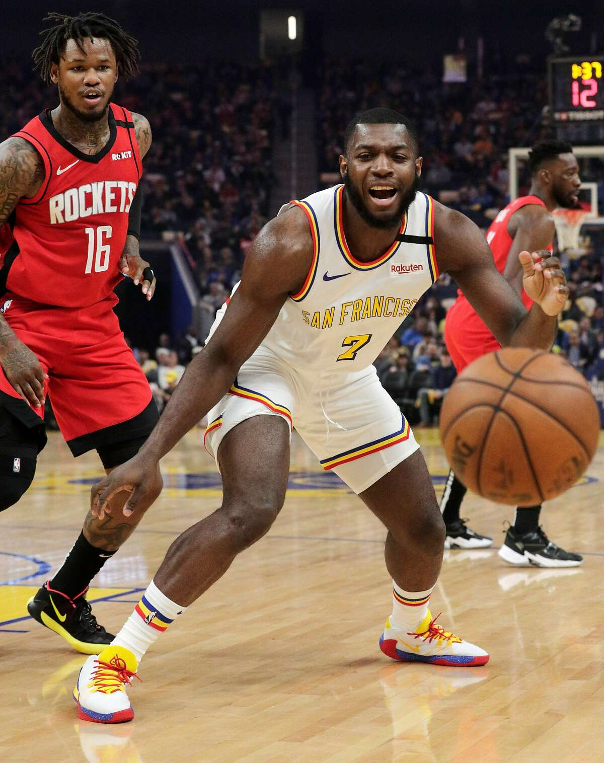 Eric Paschall (7) reacts after losing the ball In the first half as the Golden State Warriors played the Houston Rockets at Chase Center in San Francisco, Calif., on Thursday, February 20, 2020.