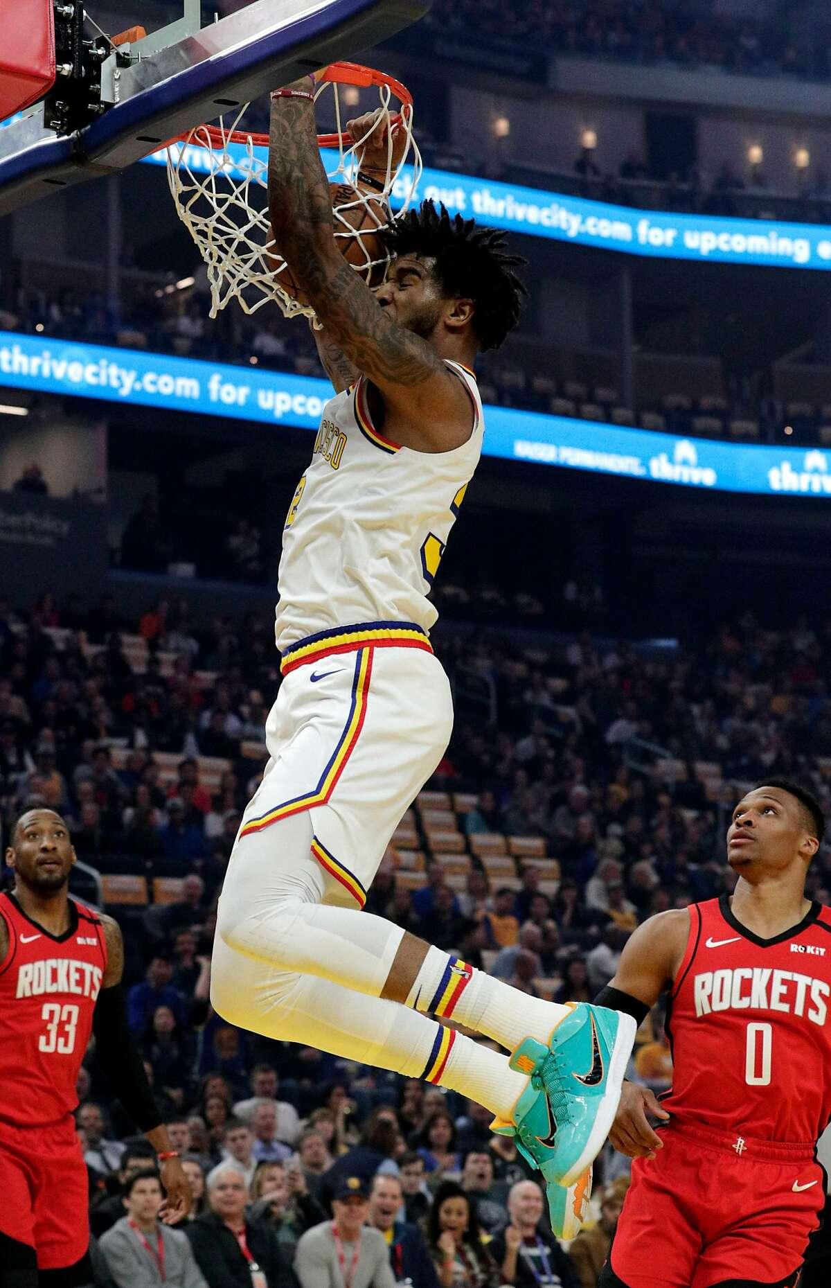 Marquese Chriss (32) dunks In the first half as the Golden State Warriors played the Houston Rockets at Chase Center in San Francisco, Calif., on Thursday, February 20, 2020.