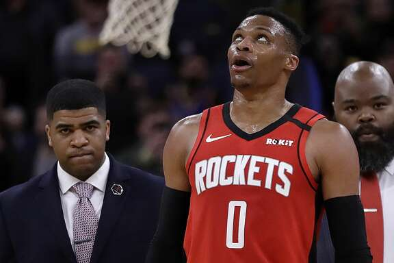 Houston Rockets' Russell Westbrook (0) walks off the court in the fourth quarter of an NBA basketball game against the Golden State Warriors Thursday, Feb. 20, 2020, in San Francisco. Westbrook was ejected after receiving a second technical foul in the fourth quarter. (AP Photo/Ben Margot)