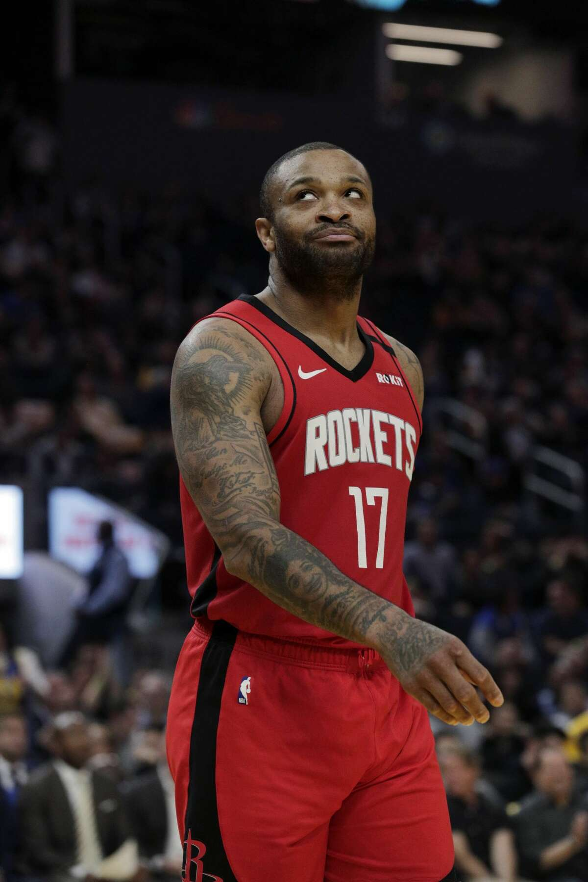 PJ Tucker (17 reacts to being called for a foul on Marquese Chriss (32) In the first half as the Golden State Warriors played the Houston Rockets at Chase Center in San Francisco, Calif., on Thursday, February 20, 2020.