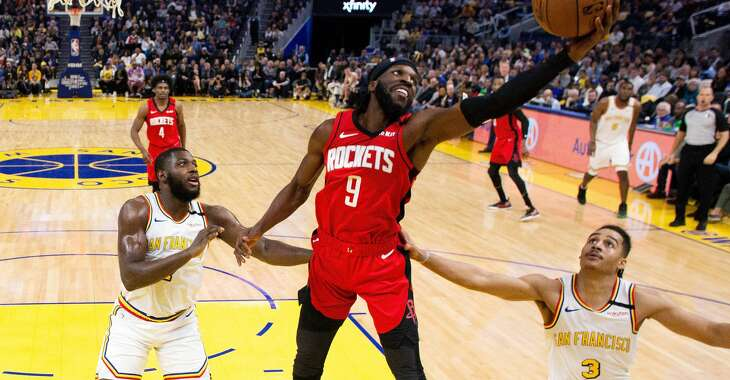 The Rockets' DeMarre Caroll (9) reaches for a rebound in the second half against the Golden State Warriors at Chase Center in San Francisco, Calif., on Thursday, February 20, 2020.
